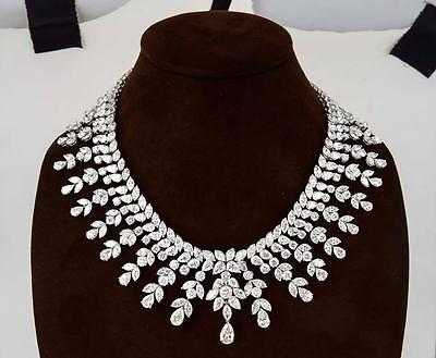 DIAMOND NECKLACE OVER 150 CT DIAMONDS PEAR DROP 2.82 CT PLATINUM