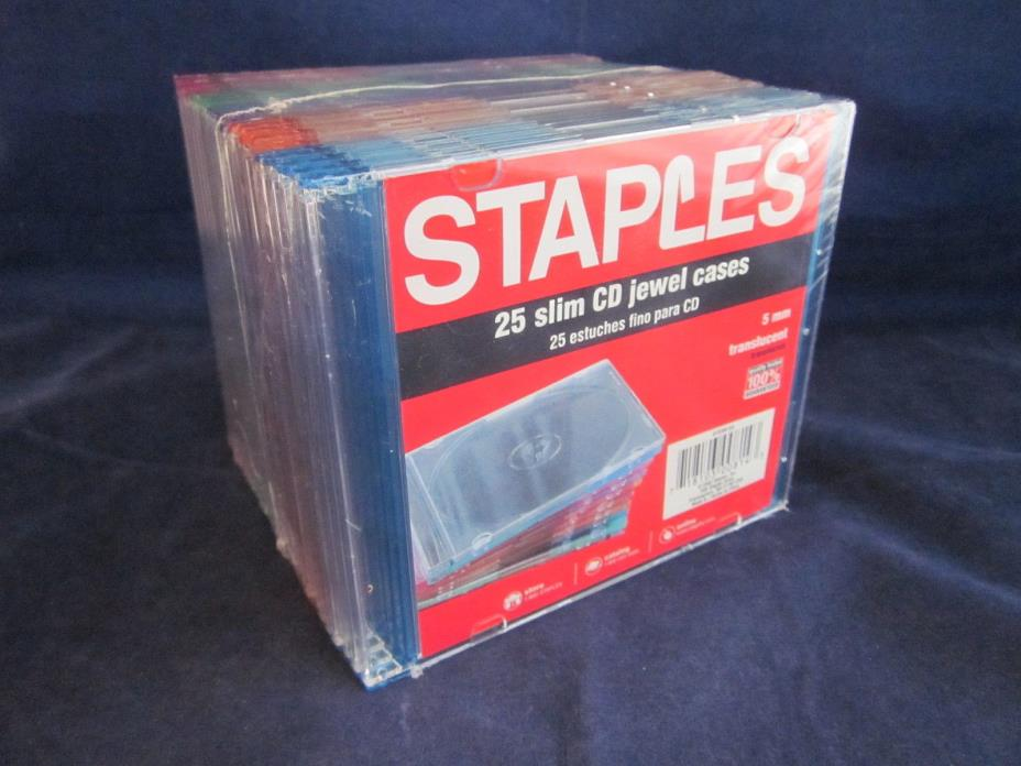 STAPLES 25 Slim Mini Jewel Cases 5mm Thick Multi Color ~ NEW in PACKAGE