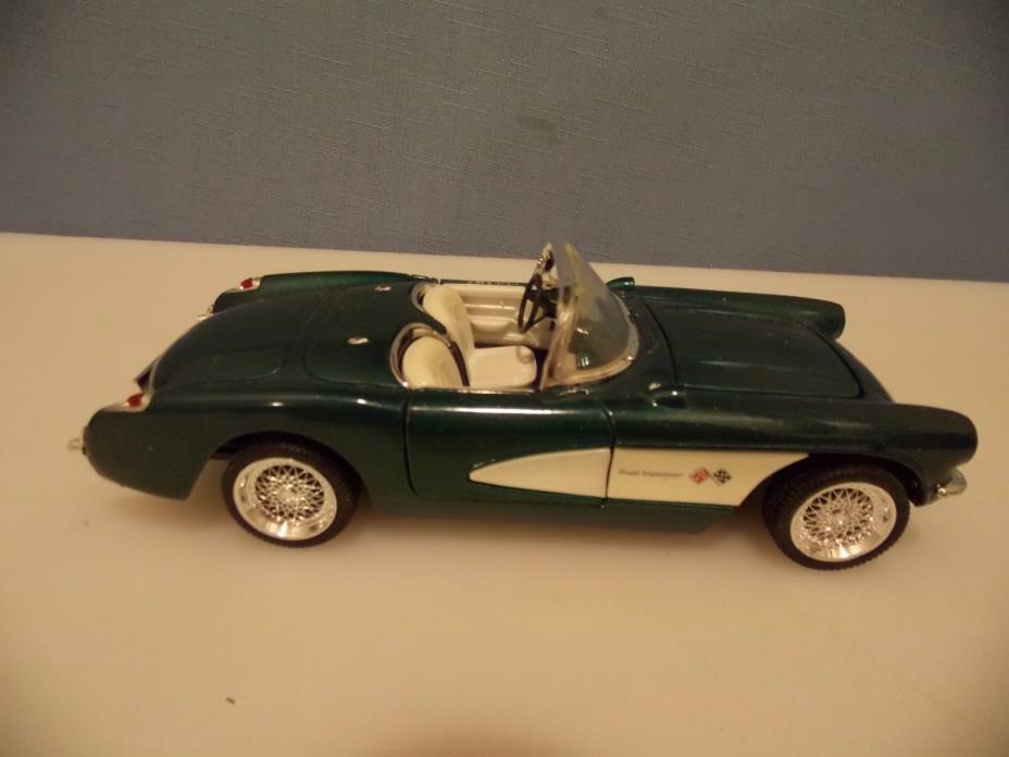1957 CHEVY  CORVETTE, CONVERTIBLE, 1:24 SCALE , GREEN IN COLOR