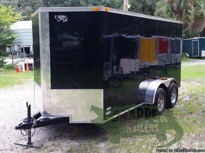 6ft. x 14 BLACK EXT. ENCLOSED Trailer w/RV Side Door & Extra 3 inch Height -...