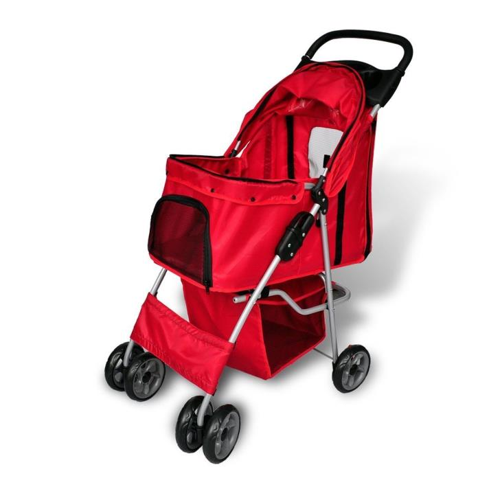 Pet Small Dog Cat Stroller Carrier Taxi Travel Folding Red Zippered