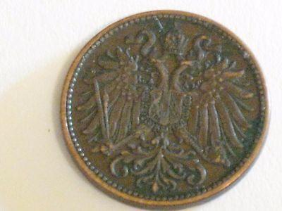 1903 Austria Bronze 2 Heller Circulated Business Strike Coin in Fine Condition