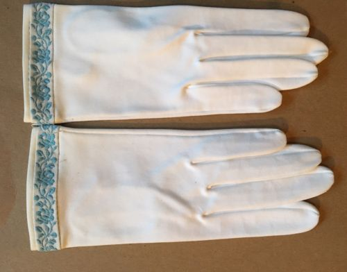 Vintage White Dress Gloves - Never Worn - Blue Embroidered Detail Wedding