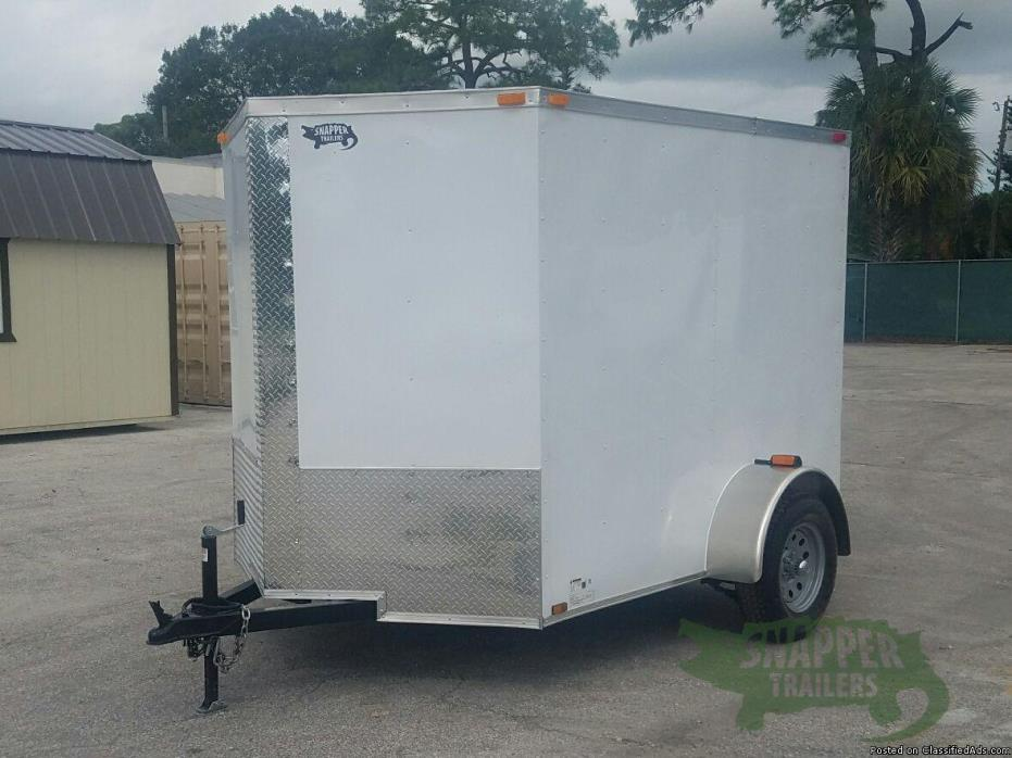New 6ft. x 8 Motorcycle Hauler, Sharp looking Wht Exterior with Additional 3in....