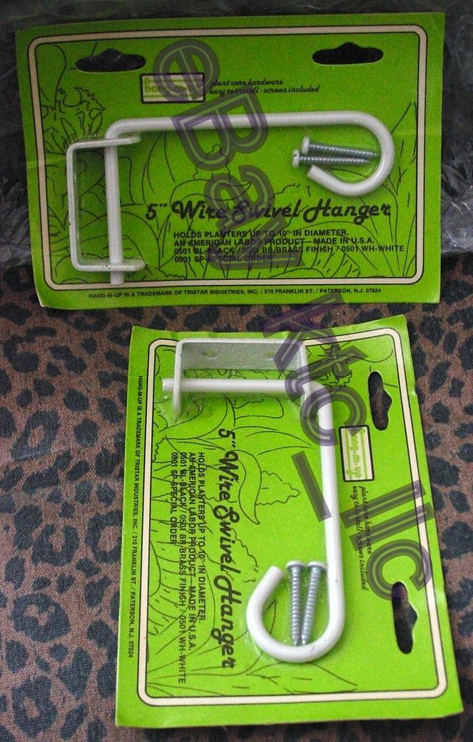 2 vip SWIVEL Hook Plant Hanger WALL MOUNT BRACKET Shabby White Metal 5