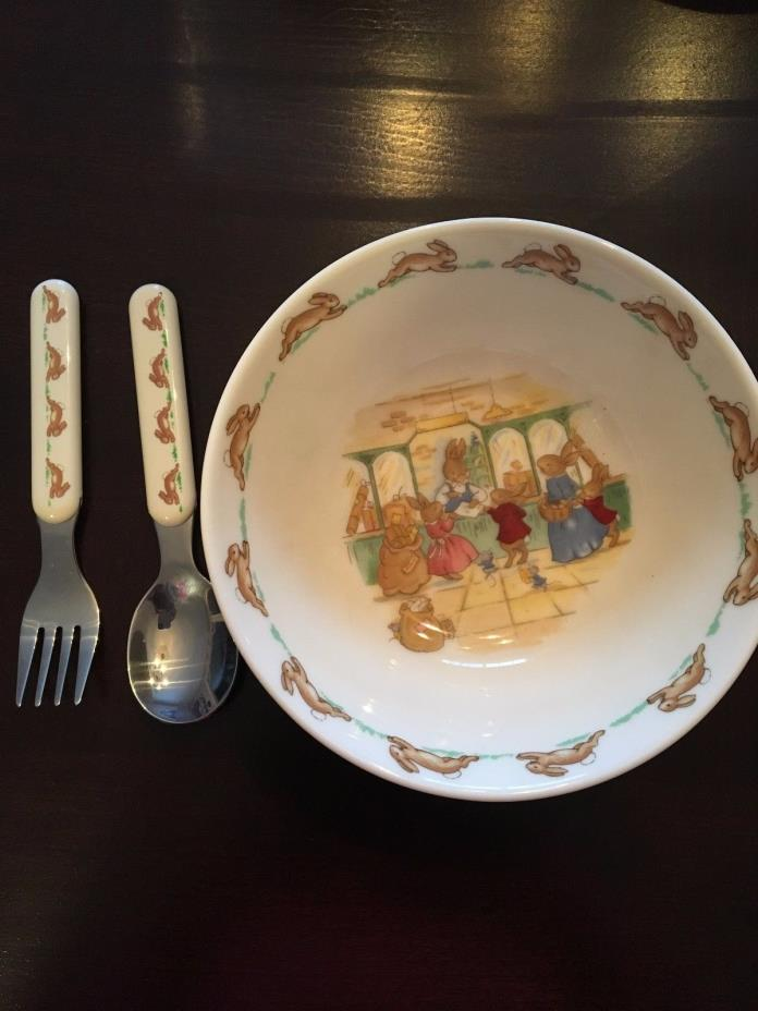 Royal Doulton Bunnykins Bowl with Spoon and Fork Set!