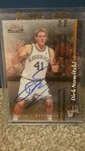 dirk nowitzki autograph topps finest rookie card dallas mavericks