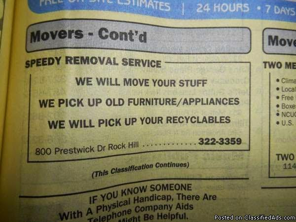 Movers, Furniture Delivery, Contracting Services