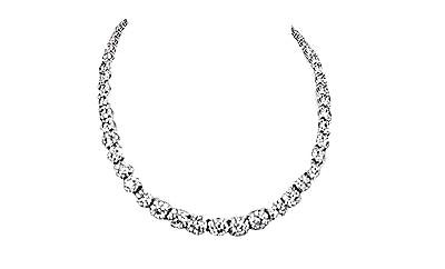 DIAMOND NECKLACE ROUND BRILLIANT BIG HALO GRADUATED AROUND SET CENTER 9.00 MM