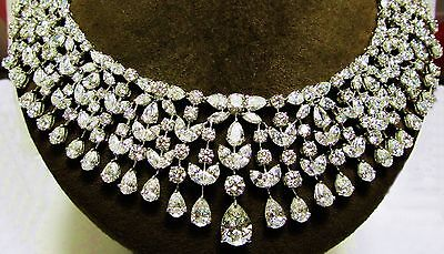 GIA CERTIFIED DIAMOND PEAR MARQUISE ROUND BRILLIANT SHAPE CHOKER NECKLACE