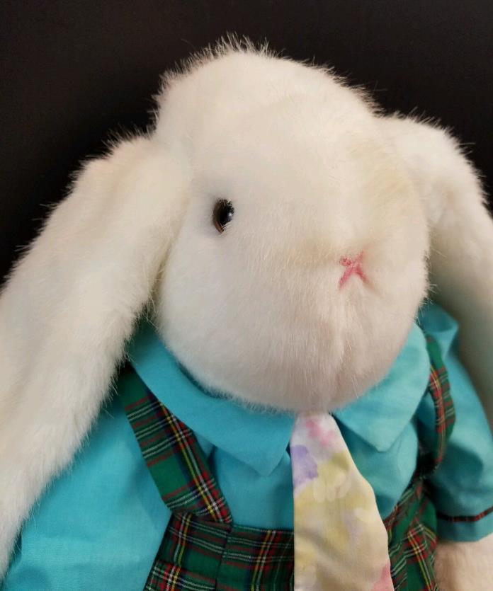 Dakin Easter Bunny Rabbit Green Plaid Overalls Pastel Neck Tie 22