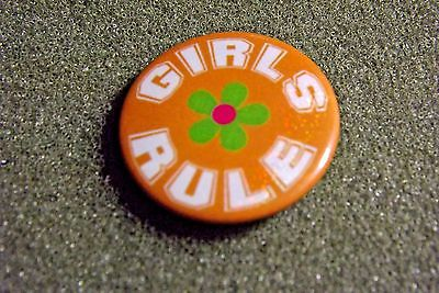 Girls Rule Lapel Pin Button With Flower Looks Vintage Slogan Saying Humorous