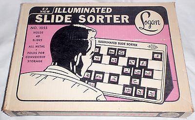 LOGAN Illuminated Slide Sorter 1055 Light Box Holds 40 Slides Metal Base Works !