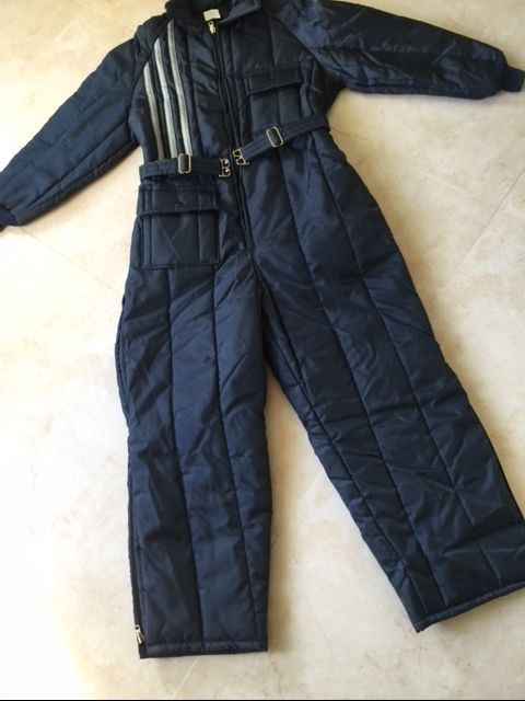 Vitage Navy Blue Snowsuit Insulated Coveralls Winter Clothing Large 16-18 NOS