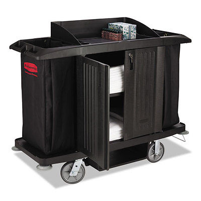 Rubbermaid Commercial Full-Size Housekeeping Cart Three-Shelf 22w x 60d x 50h