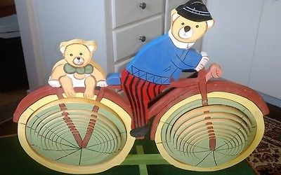VINTAGE Handmade Folk Art Bears on 2 Wheel Bicycle with Spiral Wheels