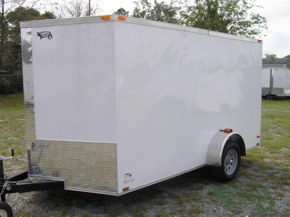 Landscaping Trailer with One Axle for SALE!  7ft. x 12 New White Exterior