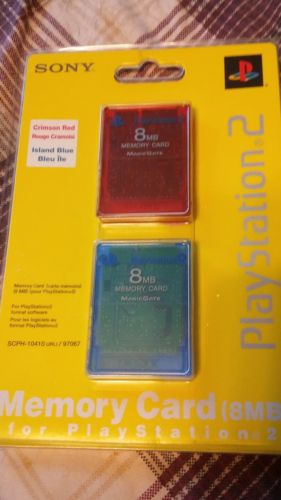Sony ps2 double pack memory cards island blue crimson red NEW sealed