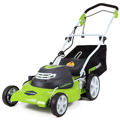 Electric Lawn Mower Corded GreenWorks Mulching 12 Amp 20-Inch Rear Bag Outdoor