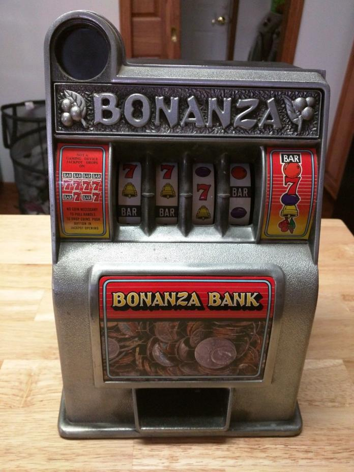 Vintage BONANZA 4-Reel Slot Machine Bank - Very Good Shape - Tested & Works!