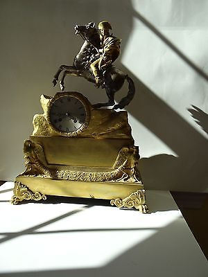 French Ormolu Gilt Bronze Clock Napoleon Bonaparte Eagle War Battle Empire