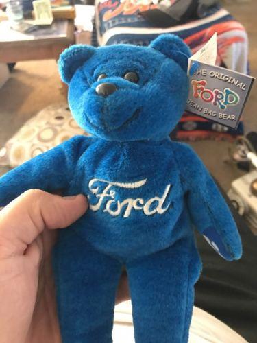 THE ORIGINAL FORD BEAN BAG TEDDY BEAR - BLUE .