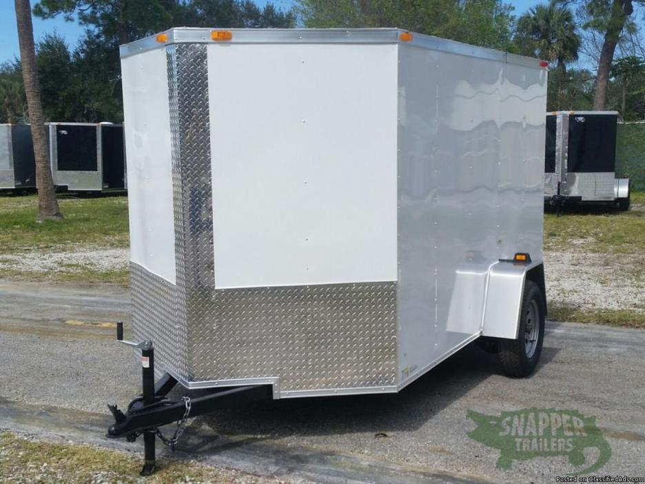 New Enclosed Cargo 6 x 10 ft w/32 in Side Door & Ramp