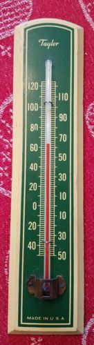 Vintage Taylor Thermometer Green Wood USA Indoor Outdoor Kitchen Barn Old Farm