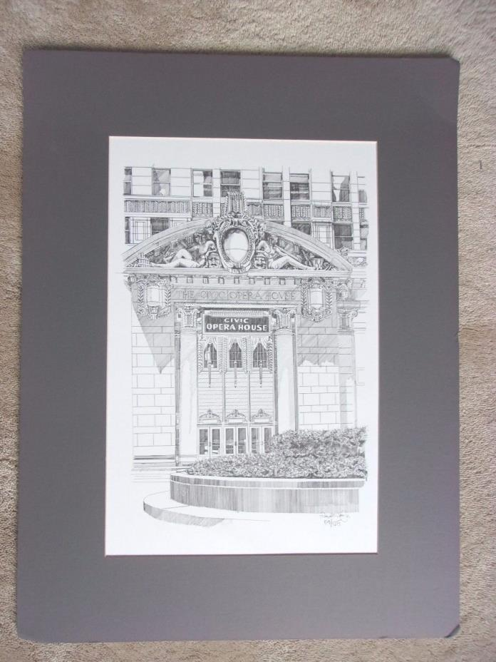 CHICAGO ~ THE CIVIC OPERA HOUSE ~24 x 18 Art Print Drawing ~ Signed and Numbered