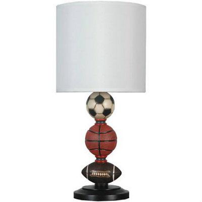 Boys Sports Lamp w Shade Multi Games Theme Bedroom Playroom Table Dresser Decor