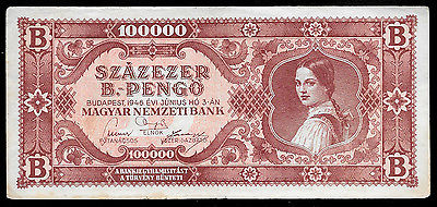 World Paper Money - Hungary 100,000 Pengo 1946  P133 Serie B @ Crisp VF