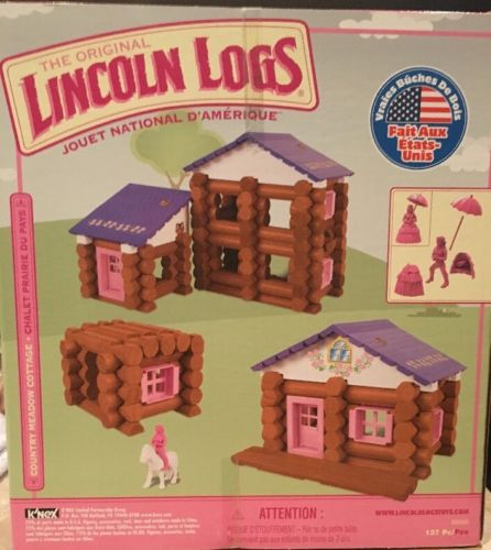 NEW Pink LINCOLN LOGS Country Meadow Cottage 137 pc FACTORY Sealed