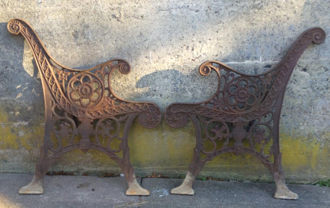 ANTIQUE ORNATE VICTORIAN CAST IRON BENCH SIDES, GARDEN, YOUR PROJECT