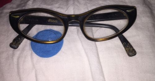 Vintage Risa Titmus U.S.A. CAT EYE Glasses Cute Embellishments Bad Shape AS IS