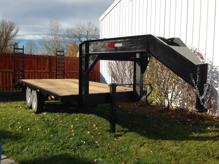 Dove Tail Flatbed Gooseneck Trailer new bed and wheels, pin for fifth wheel also