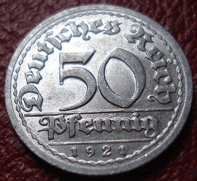 1921-G GERMANY 50 PFENNIG IN EF CONDITION