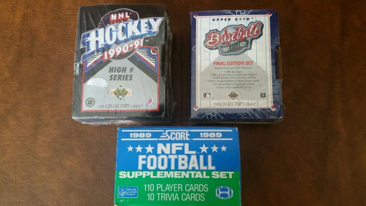 1989 SCORE FOOTBALL-1991 UPPER DECK BASEBALL-1990-91 HOCKEY FACTORY CARD SETS