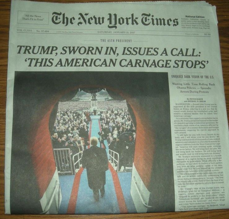 NYTimes & LA Times  Section /Trump Inaguration 1/27/17!Collectible History!