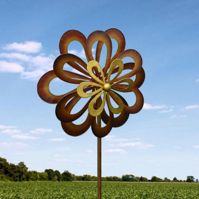 Windmill Garden Spinner Stake Dancing Daisy Outdoor Decor Rustic NEW