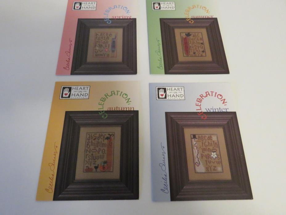 Lot 4 Heart in Hand Celebration Spring Summer Autumn Winter Counted Cross Stitch