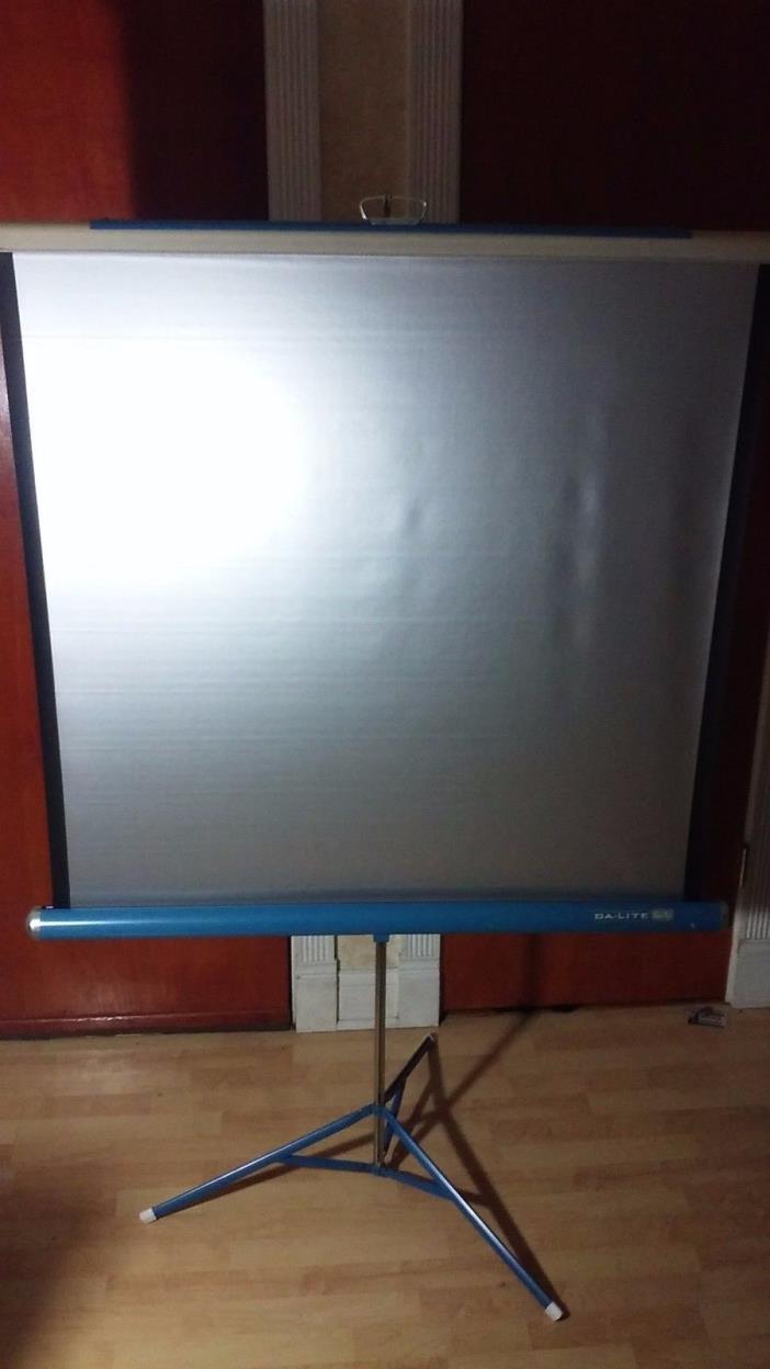 Vintage Da-Lite Silver Flyer Projection Screen Tri-pod Blue 40 X 39