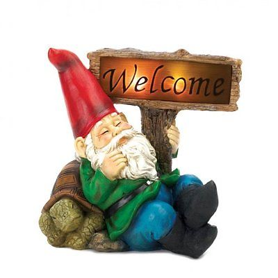 Solar Lighted Gnome Welcome Sign Elf Statue Turtle Yard Garden Patio Outdoor