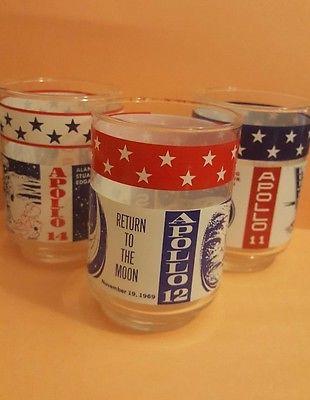 Vintage Set of Three Apollo 11, 12, 14 Drinking Glasses