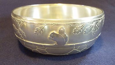 ANTIQUE TIFFANY & Co STERLING SILVER  CHILD's BOWL W/ ETCHED SQUIRREL NOT SCRAP