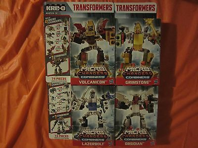 4 Kre-o Micro changers combiners Obsidian, Grimstone, Volcanicon & Lazerbolt