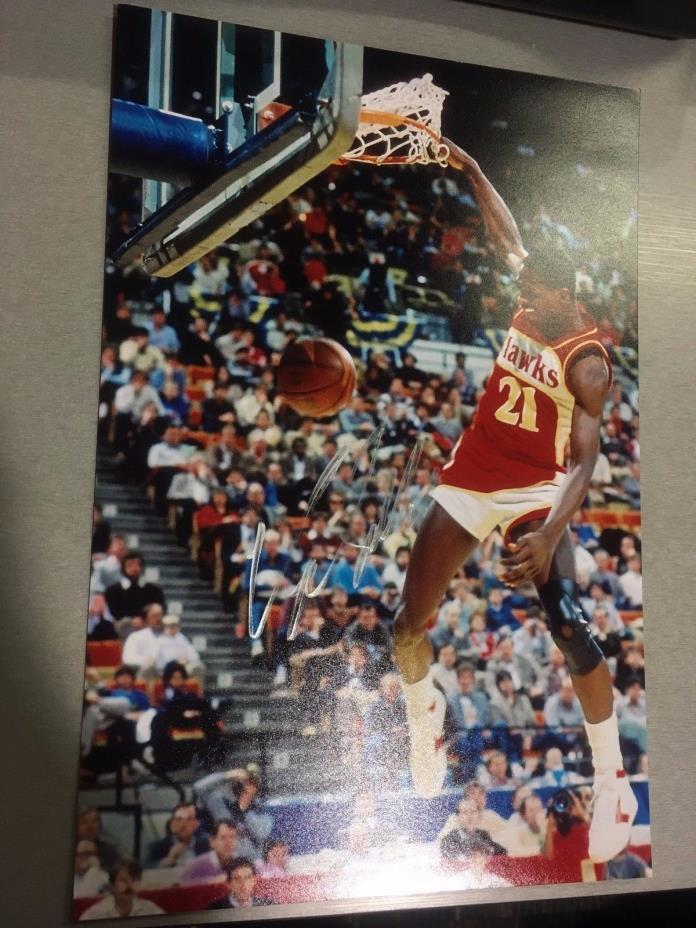 NBA Atlanta Hawks Dominique Wilkins Autographed Signed 8x12 Photo HOF All Star