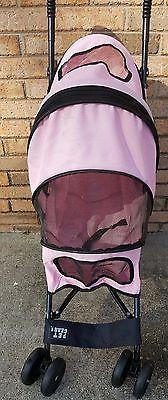 Pink Pet Stroller Cat Dog 4 Wheeler Stroller Travel Folding Carrier