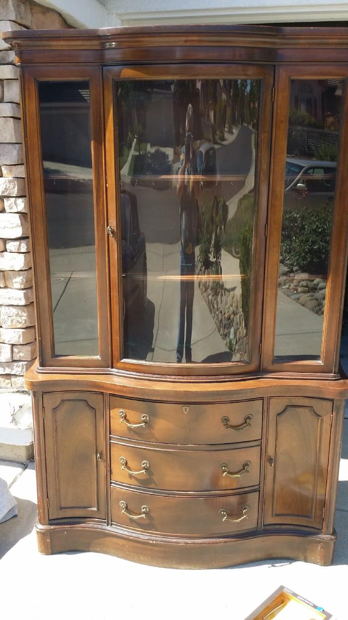 Apartment size cherry wood china cabinet