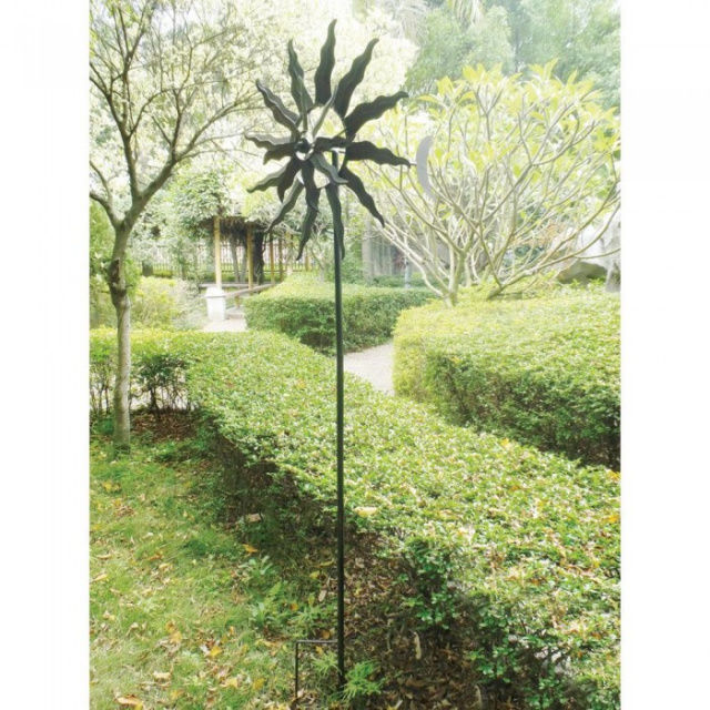 Windmill Garden Spinner Stake Dancing Sun Flower Outdoor Decor Rustic NEW