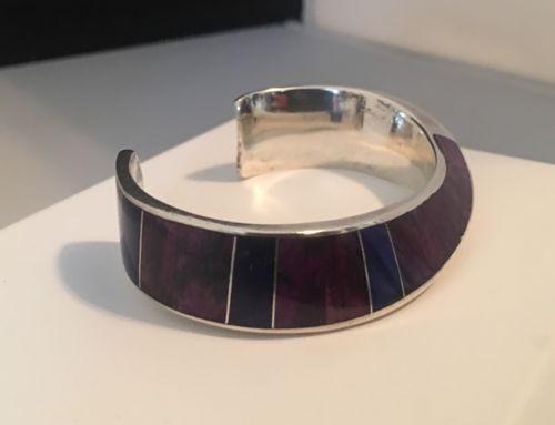 Vintage Andy Lee Kirk Navajo Sterling Sugilite/ Lapis Cuff Bracelet